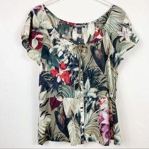 LUCKY BRAND SS Vintage Aloha Peasant  Blouse XL